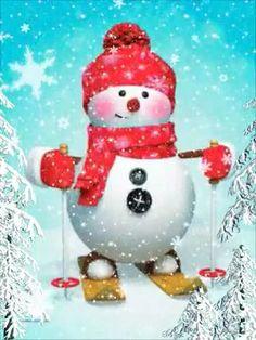 Animated Christmas Tree, Merry Christmas Gif, Christmas Scenes, Christmas Wishes, Christmas Snowman, Kids Christmas, Southern Christmas, Christmas Paintings, Xmas Ornaments