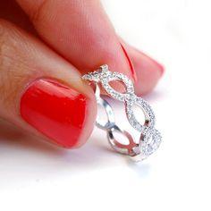 Diamond Wedding Band Diamond Infinity Band Criss Cross by NIXIN, $2130.00