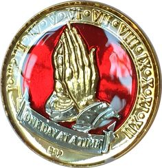 One Day At A Time Praying Hands Mandarin Red & Gold Plated Nickel Tri-Plated AA Alcoholics Anonymous Medallion Sobriety Chip Years 1 2 3 4 5 6 7 8 9 10 11 12 Year 1-12 BSP