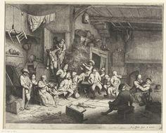 Adriaen van Ostade | Dans in de herberg, Adriaen van Ostade, 1650 - 1654 | Een groep mensen in een rommelige herberg, te midden van hen dansen een man en een vrouw op de muziek van een vedelspeler. Geheel rechts omhelst een man een zittende vrouw. Drie personen komen de herberg binnen via een trap.