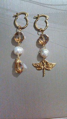 Arracadas chapa de oro cristal y perla de rio