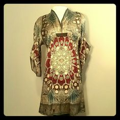 Hale Bob Silk Boho Dress Beautiful 100% silk dress by Hale-Bob has a plunging neckline, empire waist and 3/4 mandarin sleeves. Colors are mainly blueish grey, tan, and red. Hale Bob Dresses Mini