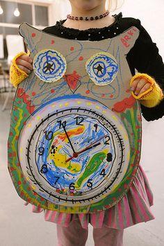 Giant Owl Clock Craft for Kids Autumn Crafts, Crafts For Kids To Make, Fun Crafts, Art For Kids, Arts And Crafts, Owl Clock, Clock Craft, Preschool Projects, Preschool Activities