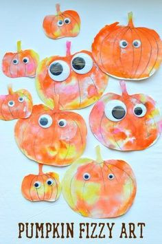 Fizzy pumpkins. Baking soda paint + citric acid colour.