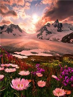 Sunset, Boundry Range, Alaska photo via susan~Looks so gorgeous! I want to go back to Alaska Pretty Pictures, Cool Photos, Amazing Nature Pictures, Beautiful Nature Pictures, Images Photos, Bing Images, Beautiful World, Beautiful Places, Amazing Places