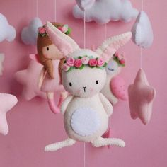 Baby mobile girl princess Pink white rabbit owl and fox hanging Crib baby mobile for nursery baby shower gift Handmade Baby, Handmade Toys, Pink White Rabbit, Felt Mobile, Bird Mobile, Felt Crafts Patterns, Moose Toys, Felt Toys, Mobiles