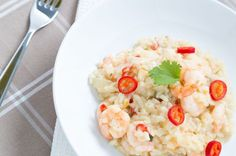 prawn risotto with chilli, spring onion and garlic