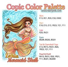 Copic Color Palette Lahla Mermaid Shell by Amanda S Byron www.faeryink.com
