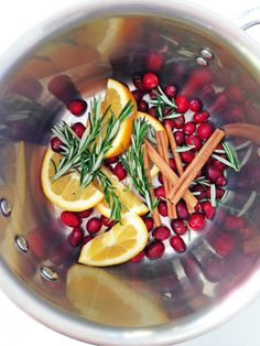 DECEMBER Simmer Pot - 1 cup fresh Cranberries, 1 Orange sliced, 2-3 Cinnamon sticks, Pine -