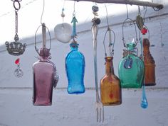 Bottle Chime Colorful Vintage Miniature Bottles Embellished with Found Objects, buttons beads,