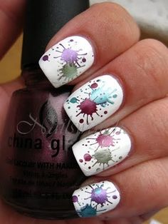 Splatter nails ...I think you do this by blowing air through a coffee stirrer or cocktail straw.
