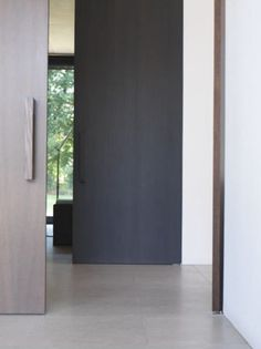 black wooden door
