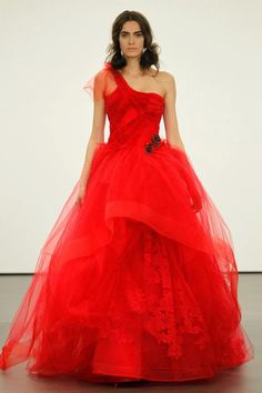 Vera Wang crimson couture, wedding gown.
