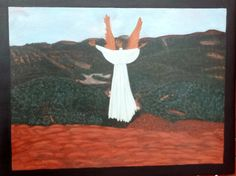 Angel of Pikes Peak - Painted on solid oak board with acrylic paints. Artist: Lisa Winner Inspired by the view at the top of Pikes Peak in Colorado. Pikes Peak, Solid Oak, Colorado, Angels, Spirituality, Outdoor Decor, Artist, Painting, Etsy