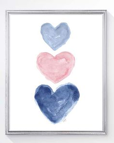"A pretty pale pink pink and navy blue heart print created from my original watercolor paintings.  Details Paper size is 5 x7 or 8"" x 10"". 5 x 7 is printed on white linen textured paper and 8 x10 is printed on white finely textured art paper. Fits perfectly in standard frame. Frames are not included.  Shipping info Your print is carefully packaged in a protective cello bag within a rigid flat mailer and shipped via USPS first class mail.  While I do everything possible to present the colors…"