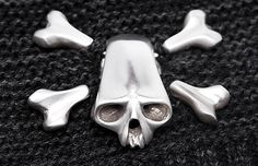 dlawless.com | SHOP #dannylawless #crossbones #silver #brooche #handcarved #pins #sweaterpet $245 Animal Skulls, Hand Carved, Cufflinks, Guy, Carving, Jewellery, Pets, Bracelets, Rings