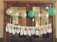 Photo booth at shower? Shower Time, Shower Party, Baby Shower Parties, Baby Showers, Girl Baby Shower Decorations, Baby Shower Themes, Shower Ideas, Clothesline Pictures, Onesie Decorating
