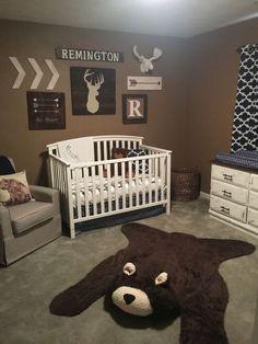 Rustic nursery neutral nursery woodland nursery arrow decor deer decor moose decor bear decor faux bear rug be brave
