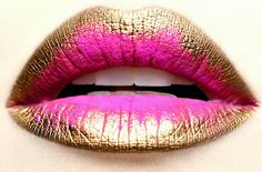 Golden Lips with a pink splash