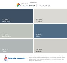 I found these colors with ColorSnap® Visualizer for iPhone by Sherwin-Williams: Indigo Batik (SW 7602), Comfort Gray (SW 6205), Online (SW 7072), First Star (SW 7646), Denim (SW 6523), Big Chill (SW 7648).