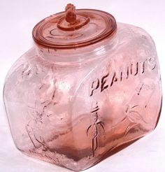 Vintage Mr. Peanut / Pennant Pink Glass Countertop Glass Jar in Collectibles, Advertising, Food & Beverage | eBay