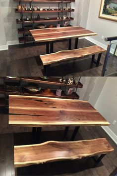 Custom Live Edge Black Walnut Dining Table With Matching Bench