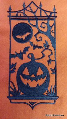 JACK-O-LANTERN SILHOUETTE Orange Cotton Kitchen Tea Towel by StitchnJEmbroidery on Etsy