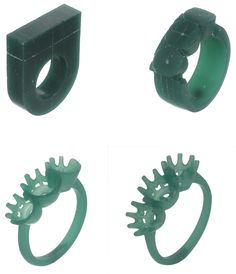 Stages in hand carving a ring.                                                                                                                                                                                 More
