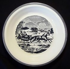 Vintage Currier & Ives The Road-Winter Blue & White Pie Plate Horse Drawn Sleigh.