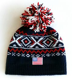2018 Winter Games Hat by Susan Rainey I reverse engineered this hat from pictures I had seen showing the Team USA closing ceremonies hat, which others did as well! Knitting Patterns Free, Knit Patterns, Free Knitting, Knitting Machine, Crochet Winter, Knit Crochet, Knit Beanie, Beanie Hats, Winter Games