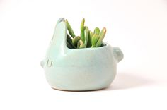 Design Forest Bunny Planter Plant pot in Pastel Mint Sea Foam Green, Bunny Pottery A super adorable mint green bunny planter, glazed with pastel mint green/ sea foam