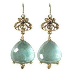 Dalben Aquamarine Diamond Gold earrings
