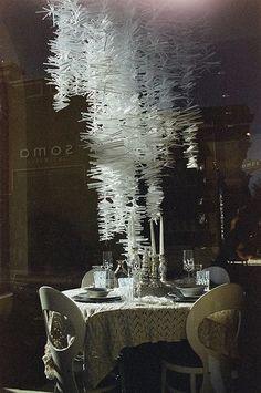 clear straws chandelier | Clear plastic straw chandelier
