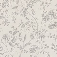 Liana (LIANAWAL/003) - Blendworth Wallpapers - An elegant, all over floral trailing design with metallic highlights. Shown here in off white and metallic silver. Other colourways are available. Please request a sample for a true colour match. Paste-the-wall product.