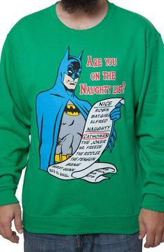 Naughty List Batman Faux Ugly Christmas Sweater