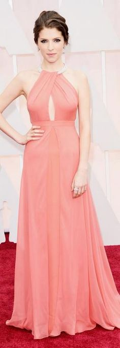 Anna Kendrick's pink gown, jewelry, and shoes that she wore to the 2015 Oscars in Hollywood Oscar style id