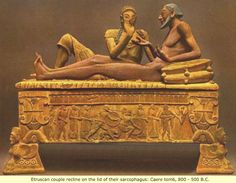 Etruria: The Black Etruscan Etruscan  couple recline on the lid  of their sarcophagus. Caere tomb,ca  800-500  BC