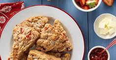 Tender, moist scones made with cream, vanilla, and fresh strawberries — both pureed, and diced.