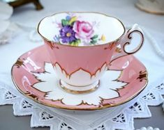 Paragon Tea Cup and Saucer, Peach Pink with White Embossed Petals, Pink Rose, Hand painted Gold Gilt Cup And Saucer Set, Tea Cup Saucer, Vintage Tea, Vintage Crockery, Vintage Cups, Pink Tea Cups, Teapots And Cups, Teacups, Or Antique