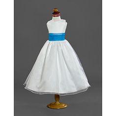 A-line Scoop Tea-length Organza Flower Girl Dress  – AUD $ 82.63
