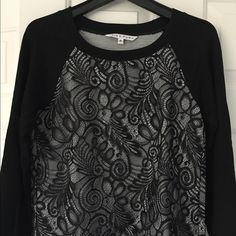 Trina Turk black lace, long sleeve shirt. Trina Turk long sleeve shirt with lace. Size petite/extra small, but runs a bit big. In excellent condition. Trina Turk Tops Tees - Long Sleeve