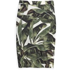 Adriana Degreas Bananeira Skirt (355 CAD) ❤ liked on Polyvore featuring skirts, bottoms, green, юбки, knee length pencil skirt, adriana degreas, palm leaf skirt, gold skirt and gold pencil skirt