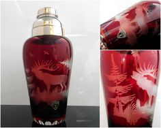 WITTIG Ruby Red Lead Crystal Cocktail Shaker with Silver Plated Lid and Hand-Polished Deer Decor // German Art Deco Barware