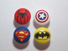 Hand Painted Super Hero drawer pulls pull dresser knob avengers green lantern flash batman superman spiderman hulk. $5.00, via Etsy.