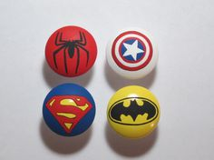 Hand Painted Super Hero drawer pulls pull dresser knob. $5.00, via Etsy.
