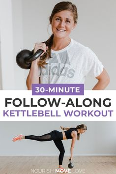 Burn out your lower body and tone your abs with this 30-minute KETTLEBELL WORKOUT! This at home strength training workout is designed to build lean muscle and burn 400+ calories in just 30 minutes. Six of the best kettlebell leg exercises to build strength in the legs and butt while also toning the abs and core. This is a kettlebell AMRAP workout which means you determine how many calories you burn based on the number of rounds you complete! Kettlebell Ab Workout, Amrap Workout, Leg Workout At Home, At Home Workouts, Barre Workout, Body Workouts, Home Strength Training, Strength Workout, Youtube Workout Videos