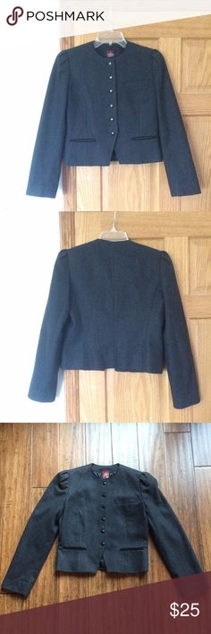 Vintage Wool Cropped Blazer Vintage Wool Blazer with Satin lining. This piece is in fantastic condition - 3 front pockets - two small pockets at the waist and one at the left breast of the jacket.  Jacket size reads 7/8 but it fits like a 2/4 size. Tailored well, warm and fashionable. J. Gallery Jackets & Coats Blazers