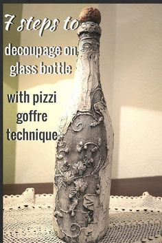How To Decoupage On Glass Bottle With Pizzi Goffre Technique                                                                                                                                                     More