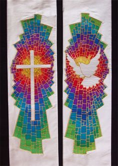 W34 : Ivory dupion silk stole with panels of painted silk with rainbow colours around cross and dove