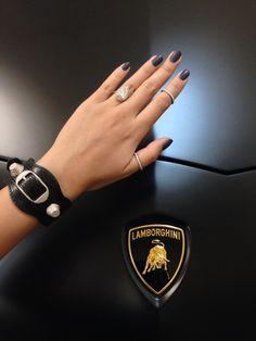 Matching Matte Black nails with a Matte Black Lamborghini Aventador and Balenciaga cuff